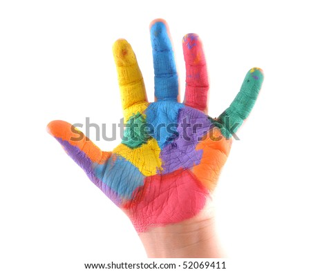 Little boy's colorful hand with 5 fingers up as well as a stop sign. White background studio image. - stock photo