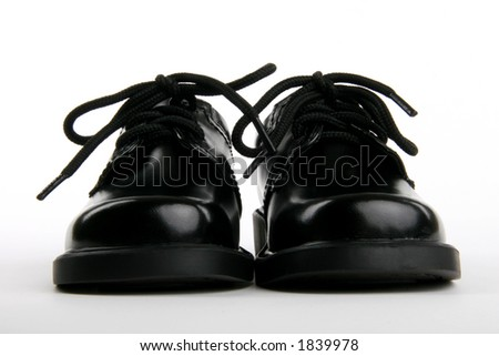 little boy's dress shoes - stock photo