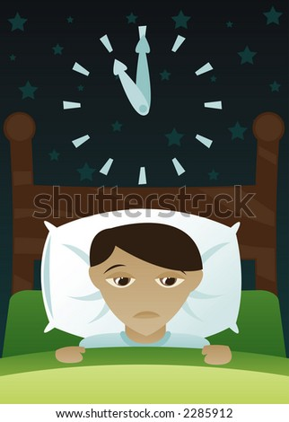 Little boy's in bed, but just can't get to sleep - stock photo