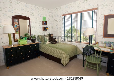 Little boy's scouting inspired bedroom - stock photo