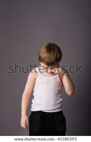 Little boy sad and in trouble - stock photo