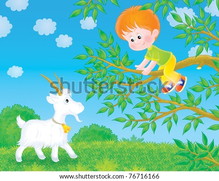 Little boy saves oneself from a goat on a tree branch - stock photo