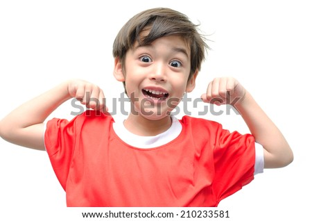 Little boy showing his muscles on white background  - stock photo