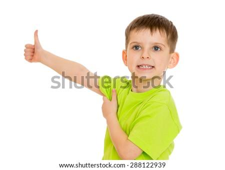 Little boy showing thumb-isolated on white background - stock photo