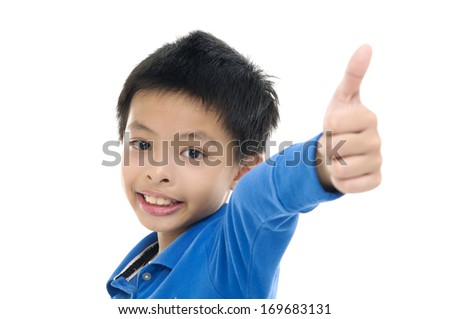 little boy showing thumb up - stock photo
