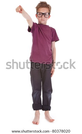little boy shows something in front of him - stock photo