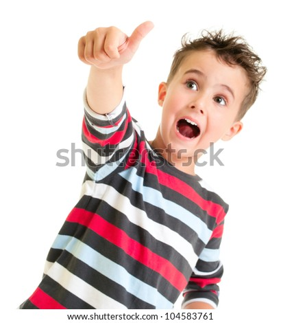 Little boy shows thumb up gesture isolated on white - stock photo