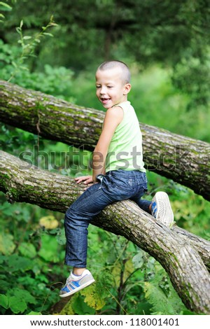Little boy sitting on a tree branch in summer forest park