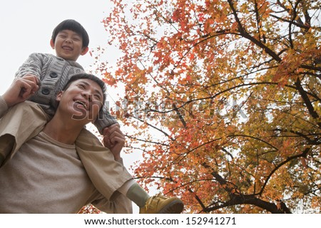 Little boy sitting on his fathers shoulders, walking through the park in autumn - stock photo