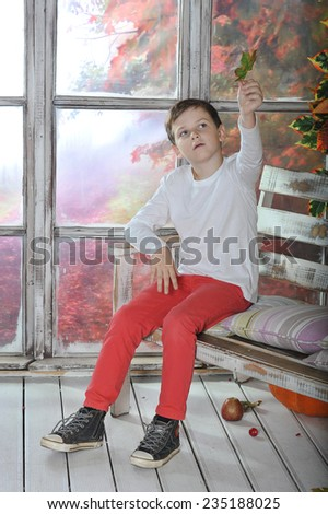 little boy sitting on the bench with maple leaf - stock photo