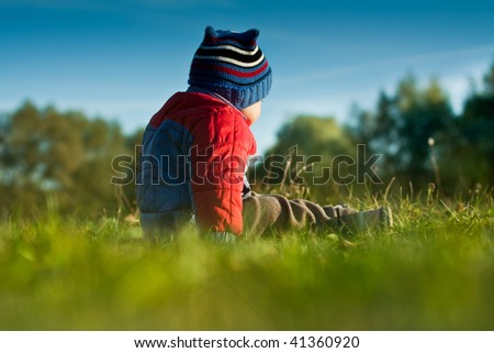 Little boy sitting on the grass. Rear view. - stock photo