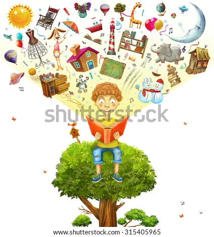 Little boy sitting on the tree and  reading a book ,objects flying out - stock photo