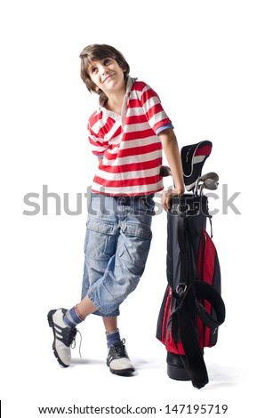 Little boy smiling leaning on golf back, isolated on white - stock photo