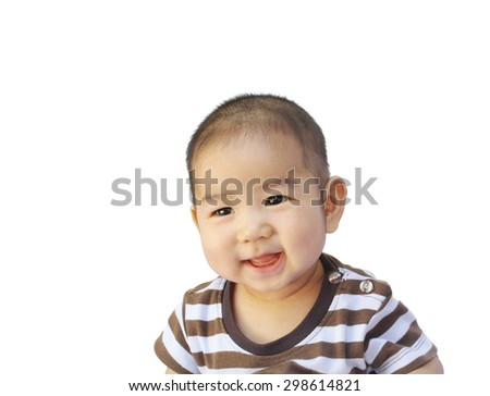 Little boy smiling portrait with happy face on white background
