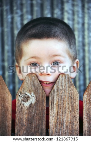 Little boy stares over his backyard fence.  His face is pressed against the wooden slats and his mouth is pushed crooked. - stock photo