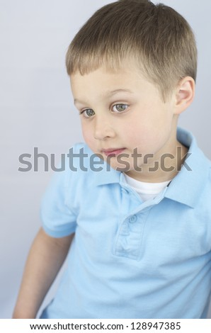 Little Boy Staring, Thinking. - stock photo