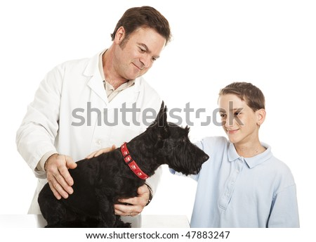 Little boy takes his Scotty dog to the veterinarian.  Isolated on white. - stock photo