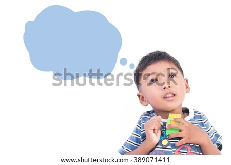 little boy thinking on white background - stock photo