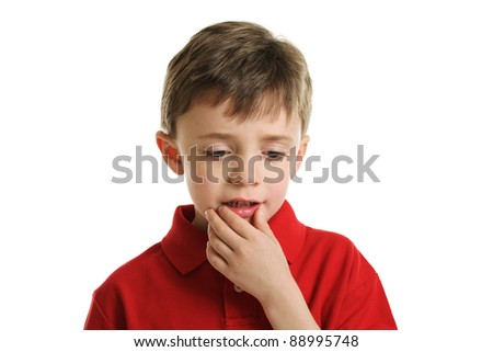 Little boy thinking portrait isolated on a white background