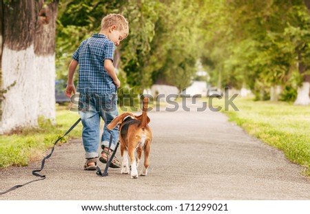 Little boy walking with his beagle puppy better friend  - stock photo