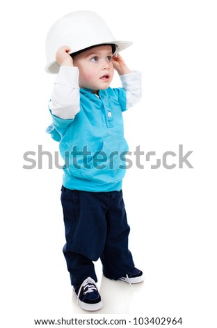 Little boy wearing a helmet - isolated over a white background