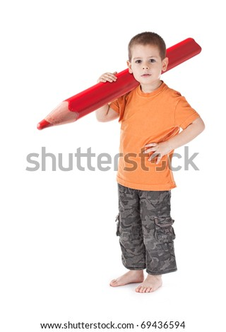 Little boy whit large pencil isolated on white - stock photo