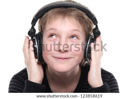 Little boy with a headphone