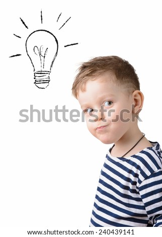 little boy with a light bulb on a white background. idea - stock photo