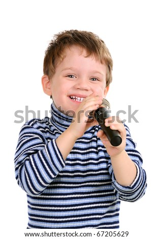 Little boy with a microphone. Isolated over white - stock photo