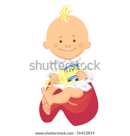 little boy with a rattle in his hand, smiling, sitting on the potty - stock photo