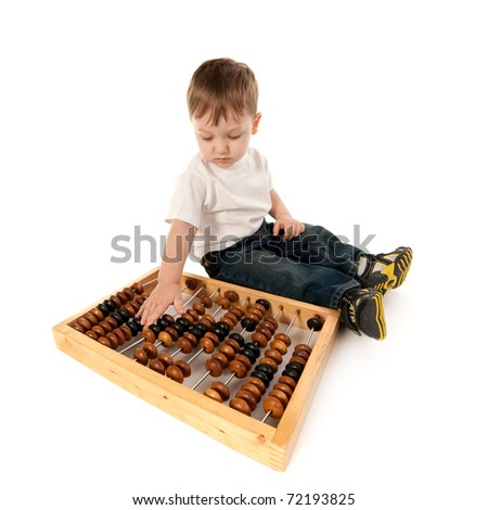 little boy with abacus isolated on white - stock photo