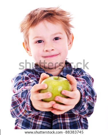 Little boy with apple. Isolated on white background. - stock photo