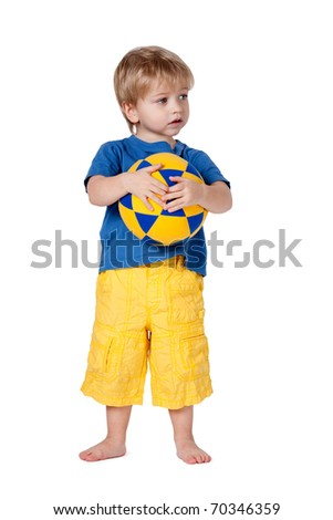 little boy with ball - stock photo