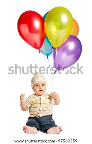 little boy with balloons - stock photo