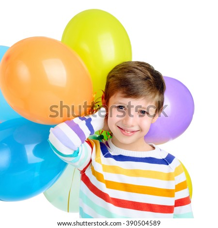 Little boy with balloons on a white background - stock photo