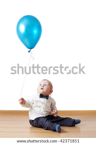 little boy with baloon - stock photo