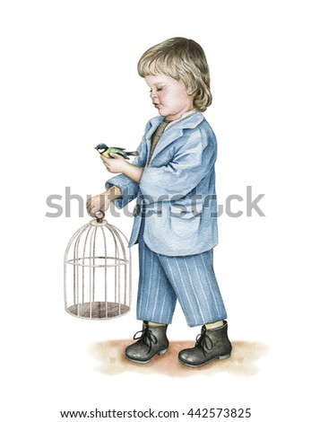 Little boy with bird's cage and tit bird in his hand. Watercolor - stock photo