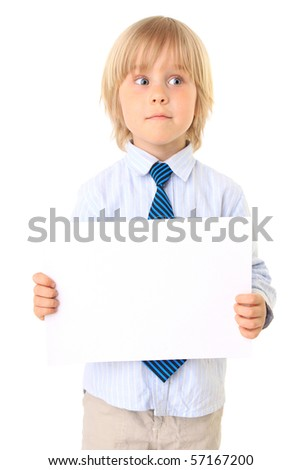 little boy with card for text isolated on white