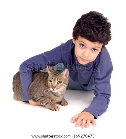 little boy with cat isolated in white