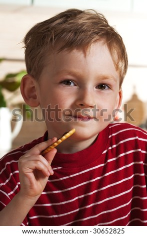 Little boy with cookies - stock photo