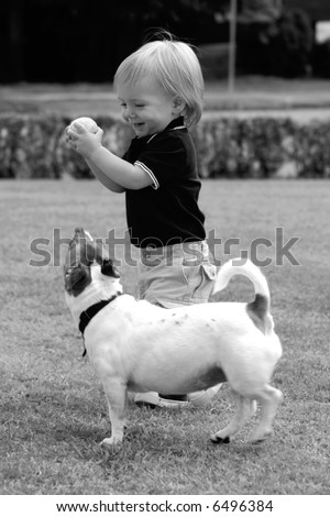 Little boy with cute dog playing ball - stock photo