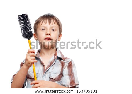 Little boy with dishmop, isolated, empty space - stock photo