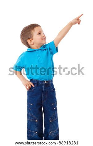 Little boy with empty pointing hand, isolated on white