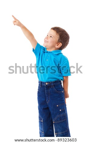 Little boy with empty pointing lifted up hand, isolated on white - stock photo