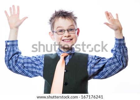Little boy with funny face isolated on white - stock photo