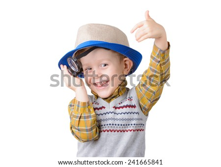little boy with glasses and hat on white background - stock photo