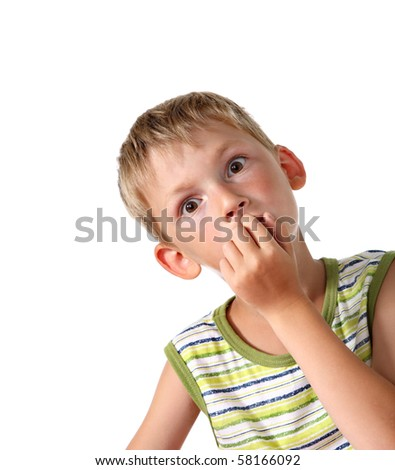 Little boy with goggle eyes - stock photo