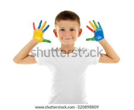 Little boy with hands in paint, isolated on white - stock photo