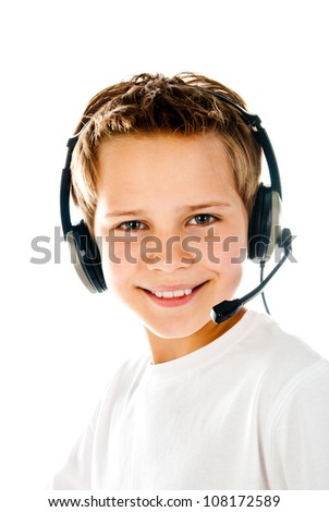 little boy with headset isolated on a white background - stock photo