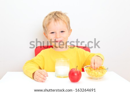 little boy with healthy food, healthy eating concept - stock photo